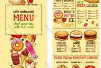 Fast Food Restaurant Menu Template Royalty Free Vector Image for Fast Food Menu Design Templates