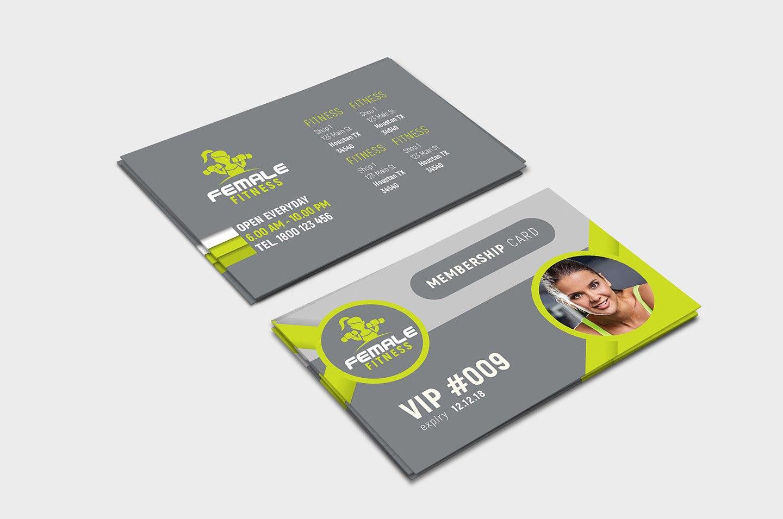 Female Fitness Membership Card Template In Psd Ai  Vector  Brandpacks With Gym Membership Card Template