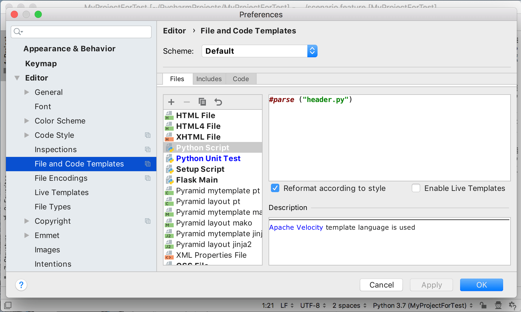File And Code Templates  Help  Pycharm Intended For Where Are Word Templates Stored