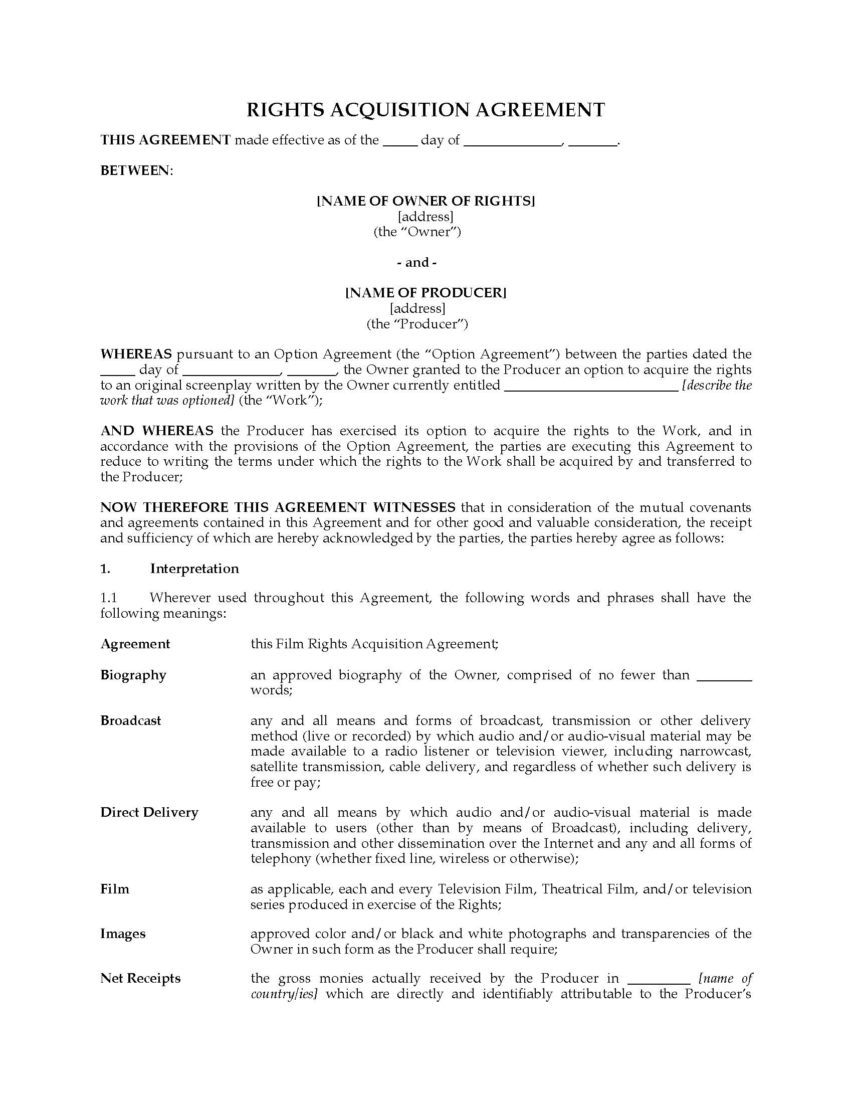 Film Rights Acquisition Agreement  Legal Forms And Business Pertaining To Screenplay Option Agreement Template