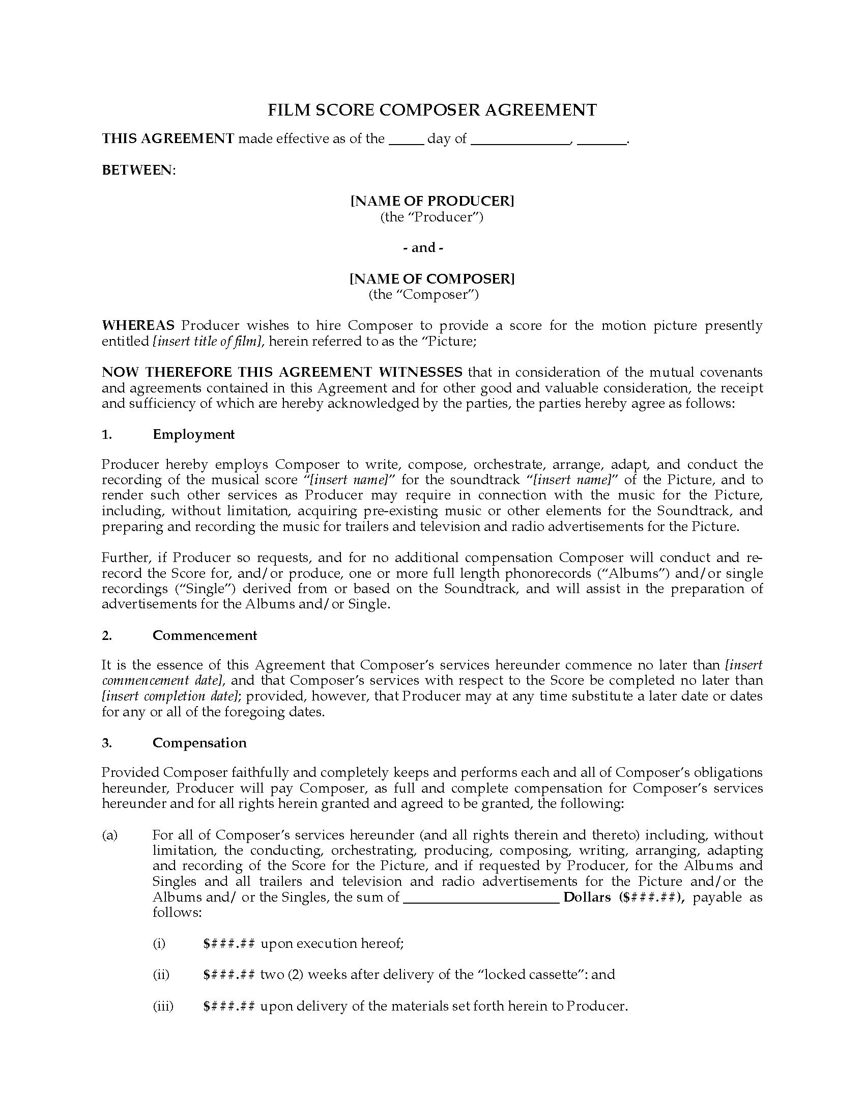 Film Score Composer Agreement Work For Hire  Legal Forms And With Regard To Songwriter Agreement Template