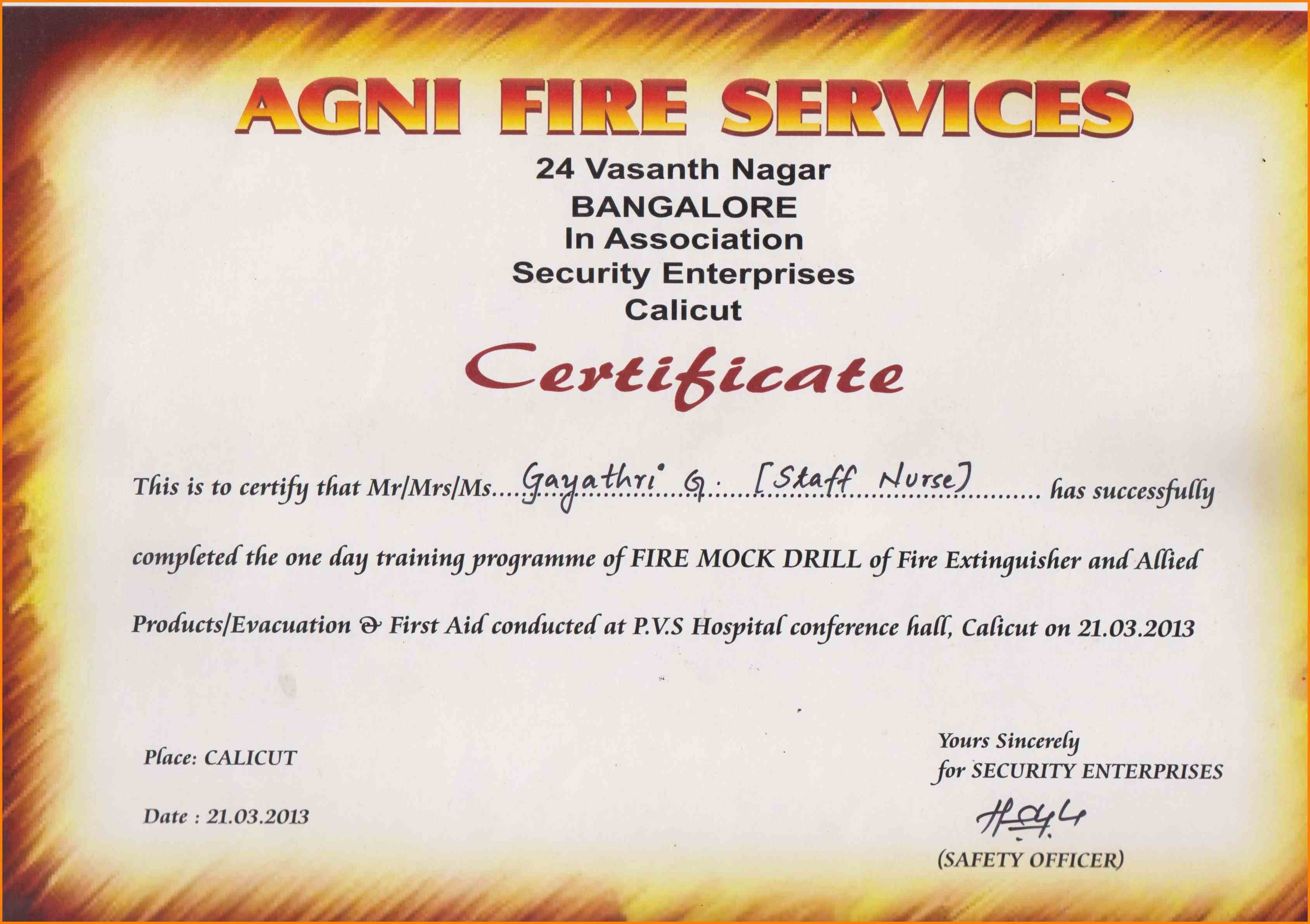 Fire Extinguisher Training Certificate Template Word Inside Fire Extinguisher Certificate Template