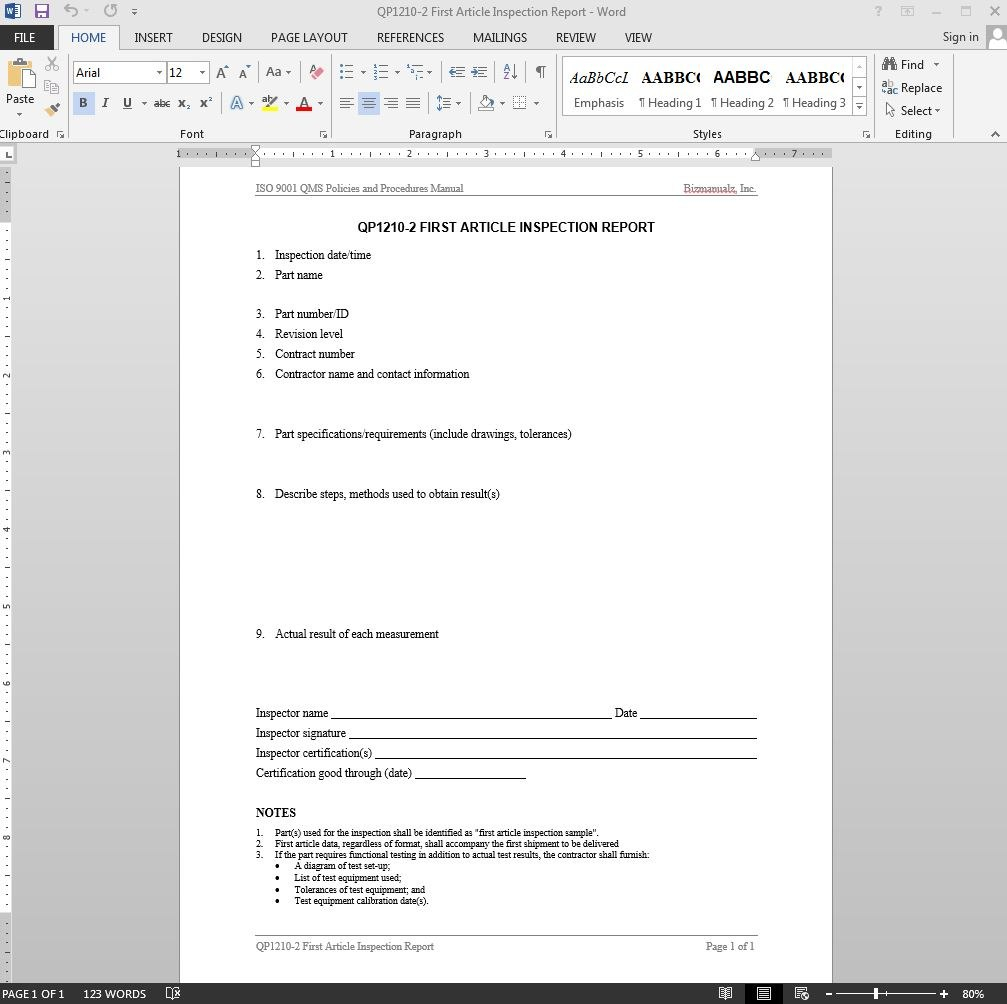 First Article Inspection Report Iso Template In Part Inspection Report Template