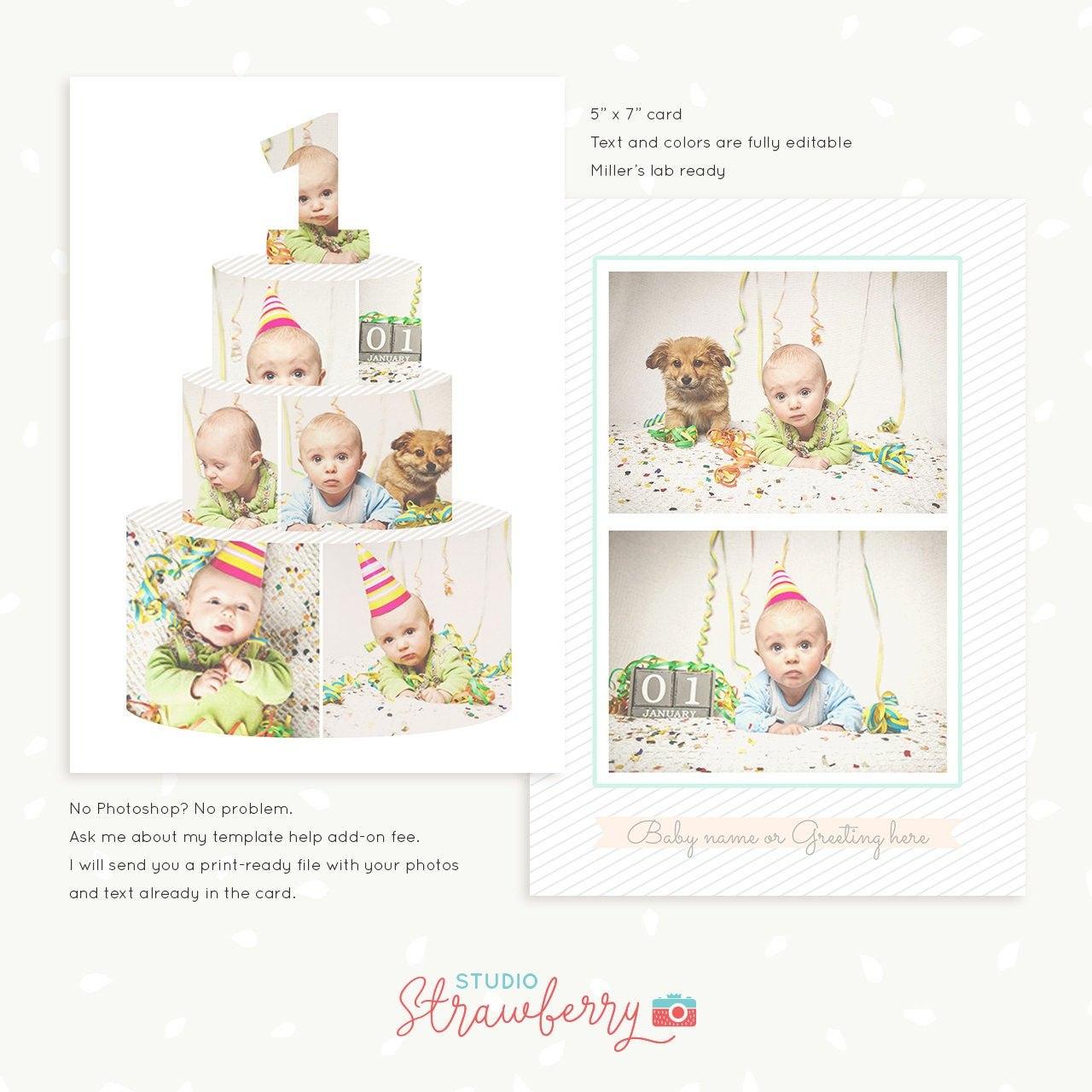 First Birthday Card Template Birthday Cake Collage Cake  Etsy Intended For Birthday Card Collage Template