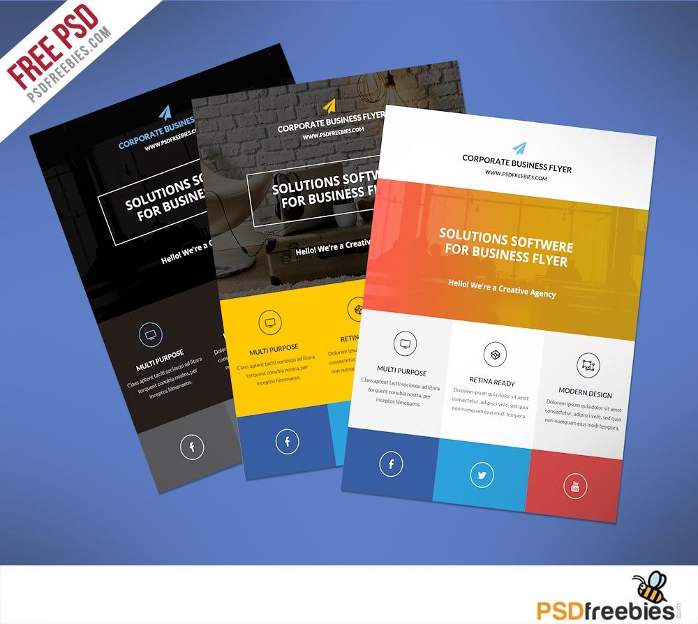 Flat Clean Corporate Business Flyer Free Psd  Psd Print Template For New Business Flyer Template Free