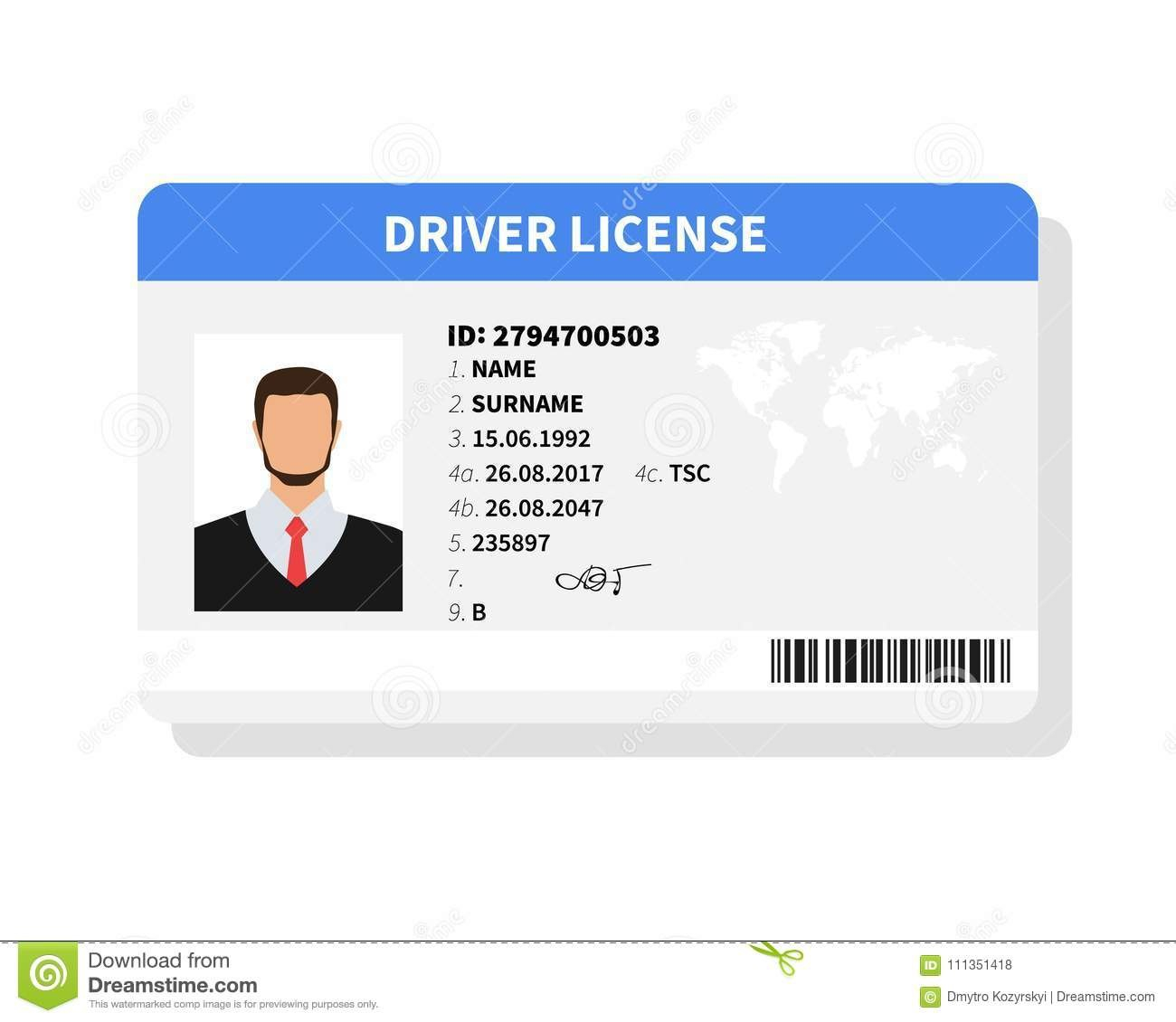 Flat Man Driver License Plastic Card Template Identification Card Inside Personal Identification Card Template