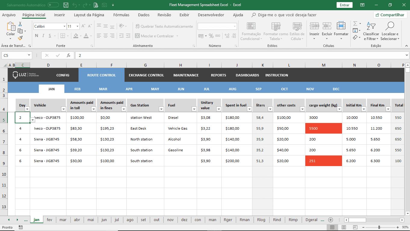 Fleet Management Spreadsheet Excel  Luz Spreadsheets With Regard To Fleet Report Template