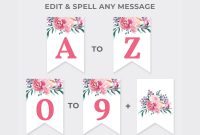 Floral Custom Party Banner Printable Template Purple And  Etsy for Bridal Shower Banner Template