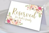 Floral Reserved Sign Reserved Printable Reserved Wedding Sign with Reserved Cards For Tables Templates
