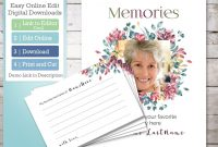 Flower Funeral Memory Card Template And Memorial Poster Edit  Etsy intended for In Memory Cards Templates