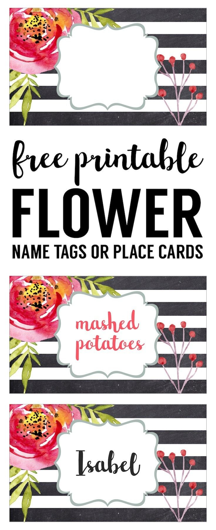 Flower Place Card Holder Or Food Labels Free Printable  Projects To For Bridal Shower Label Templates