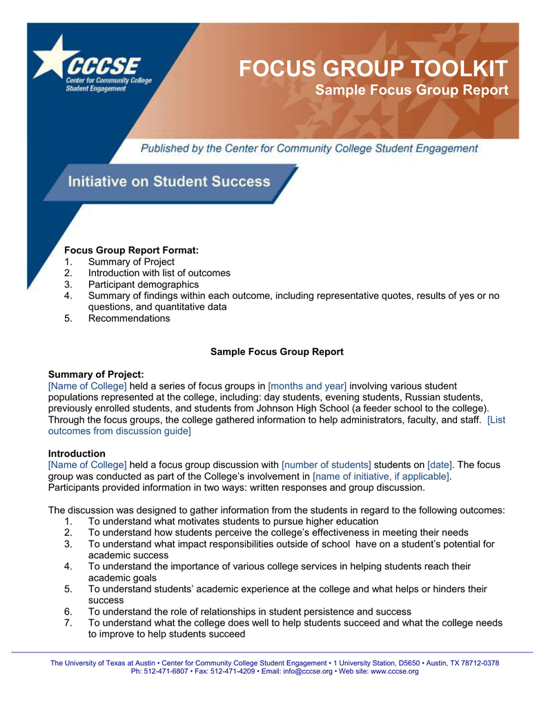 Focus Group Toolkit Sample Focus Group Report Within Focus Group Discussion Report Template