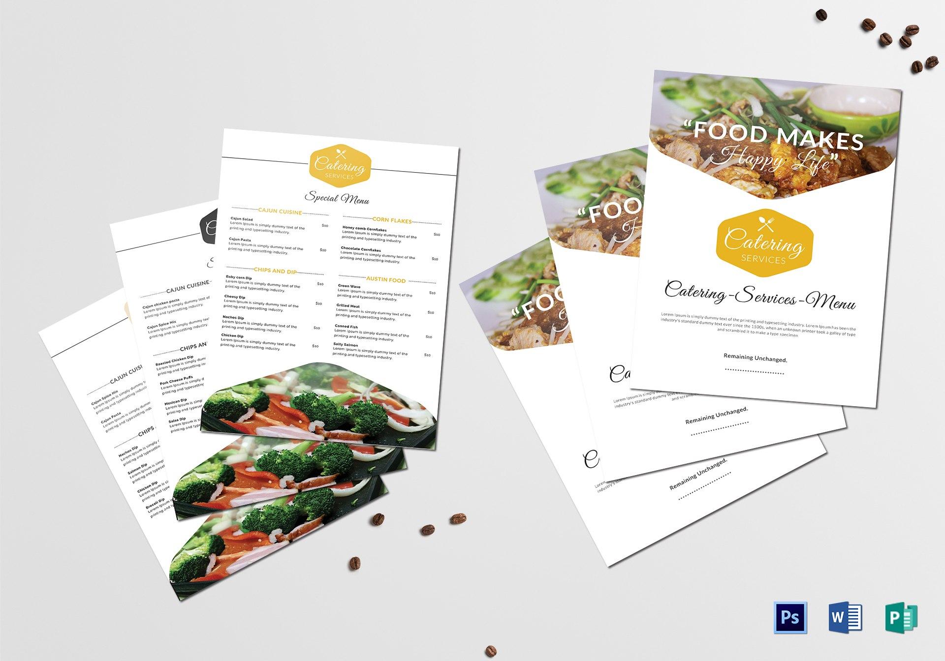 Food Catering Service Menu Template In Product Menu Template