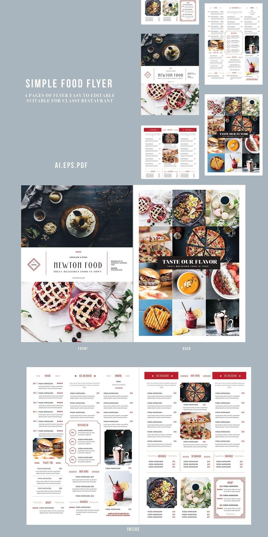 Food Menu Bifold — Adobe Illustrator Classic Print  Menu's Inside Adobe Illustrator Menu Template