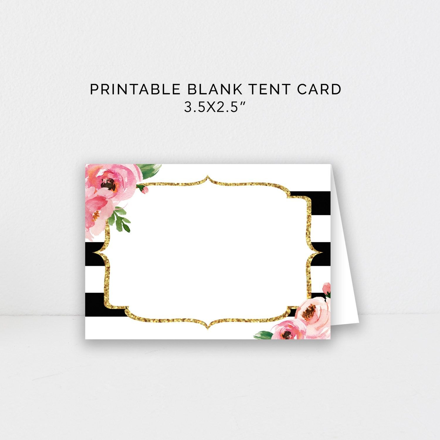 Food Tent Card Editable Template Diy Kate Place Cards Bridal Throughout Blank Tent Card Template