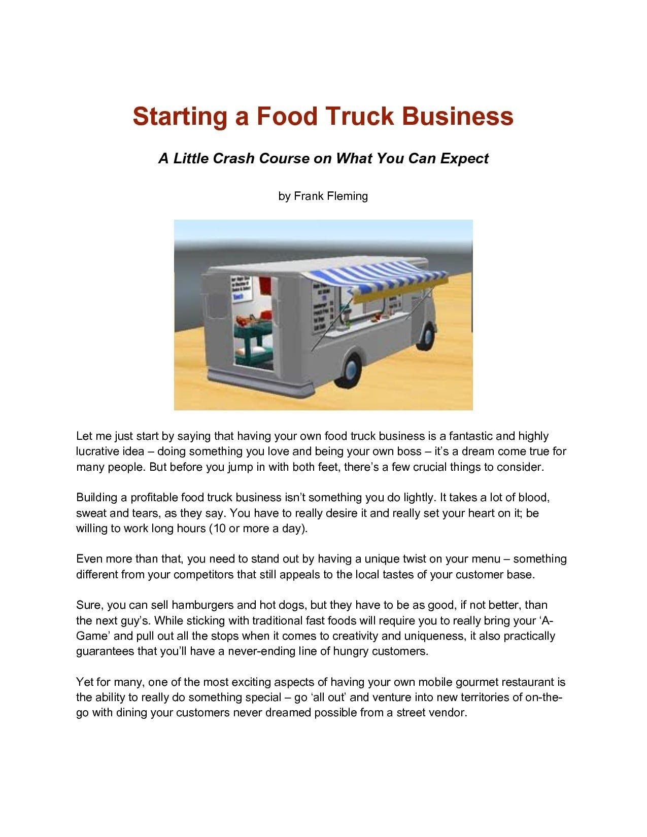Food Truck Business Plan Examples  Pdf  Examples For Business Plan Template Food Truck
