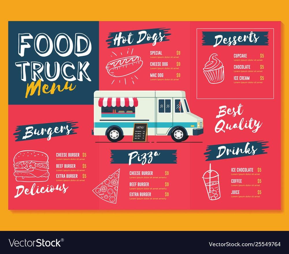 Food Truck Menu Template Fast Food Brochure Menu Vector Image In Food Truck Menu Template