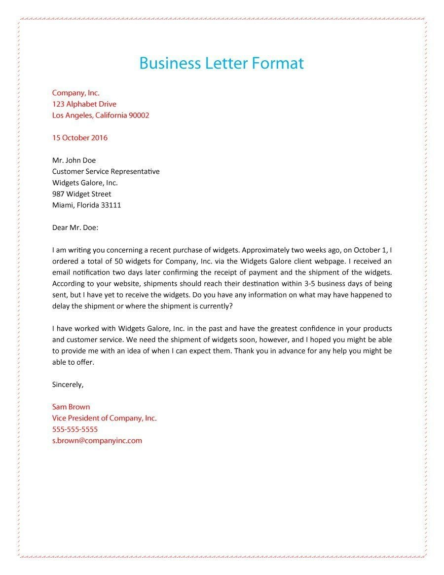 Formal Business Letter   Business Letter  Formal Business Letter Throughout How To Write A Formal Business Letter Template