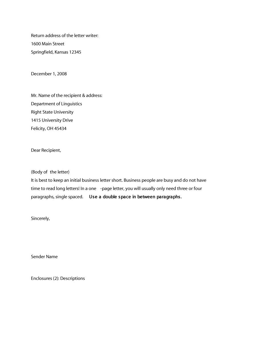 Formal  Business Letter Format Templates  Examples ᐅ Template Lab Intended For How To Write A Formal Business Letter Template