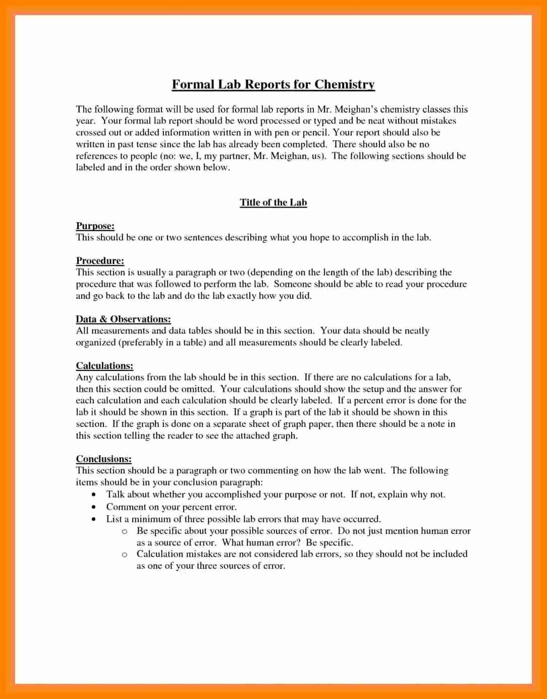 Formal Lab Report Example Best  Formal Lab Write Up Template For Formal Lab Report Template
