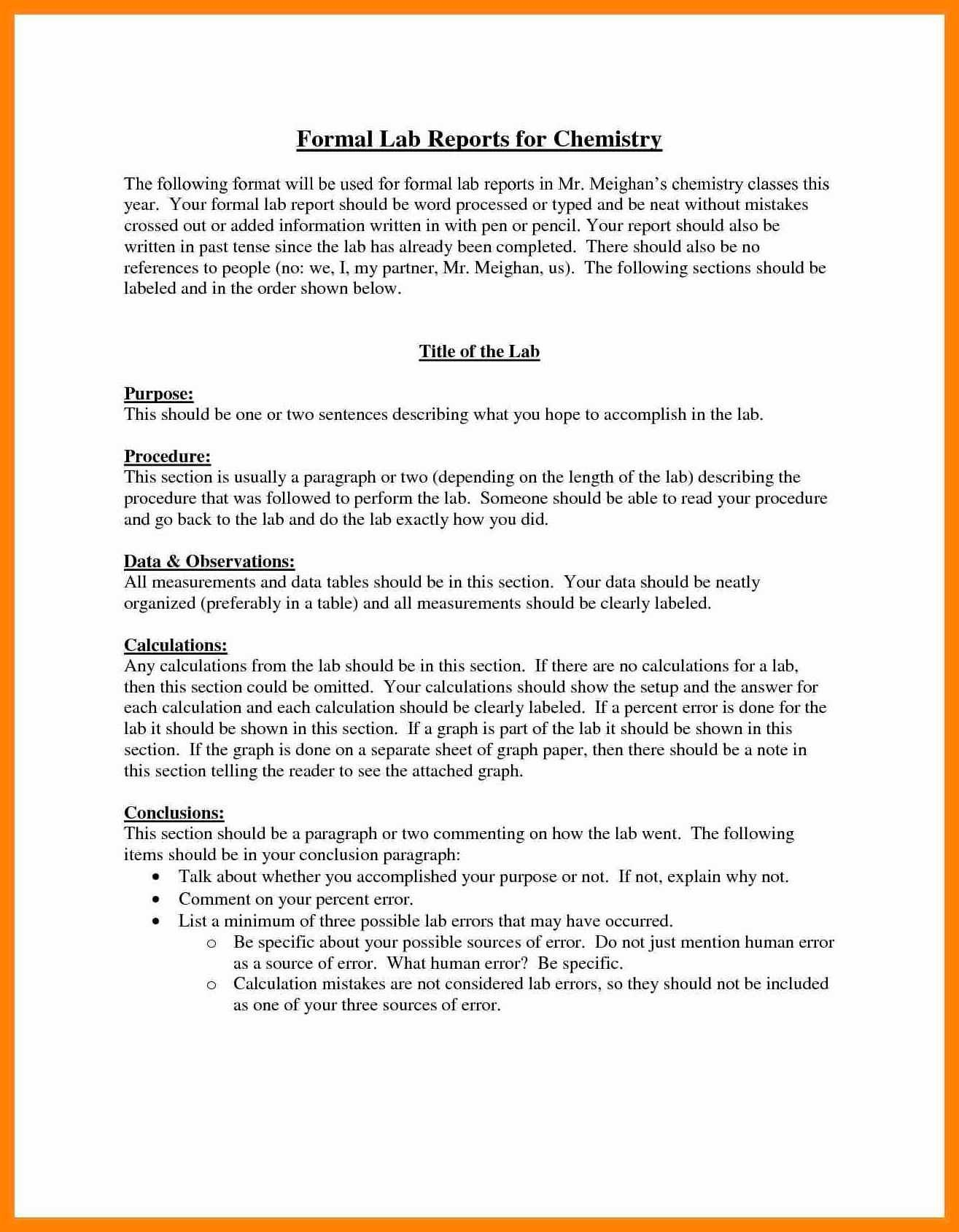 Formal Lab Report Template Ideas Frightening Example Throughout Lab Report Template Chemistry