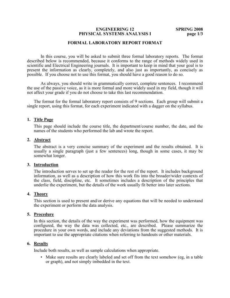 Formal Laboratory Report Format Inside Engineering Lab Report Template