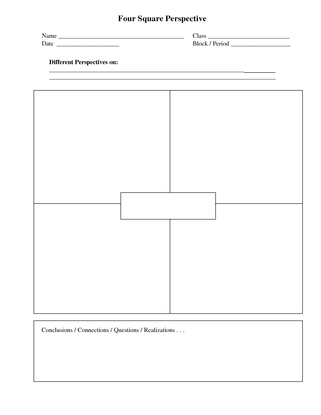 Four Square Writing Template Printable  Four Square Perspective Pertaining To Blank Four Square Writing Template