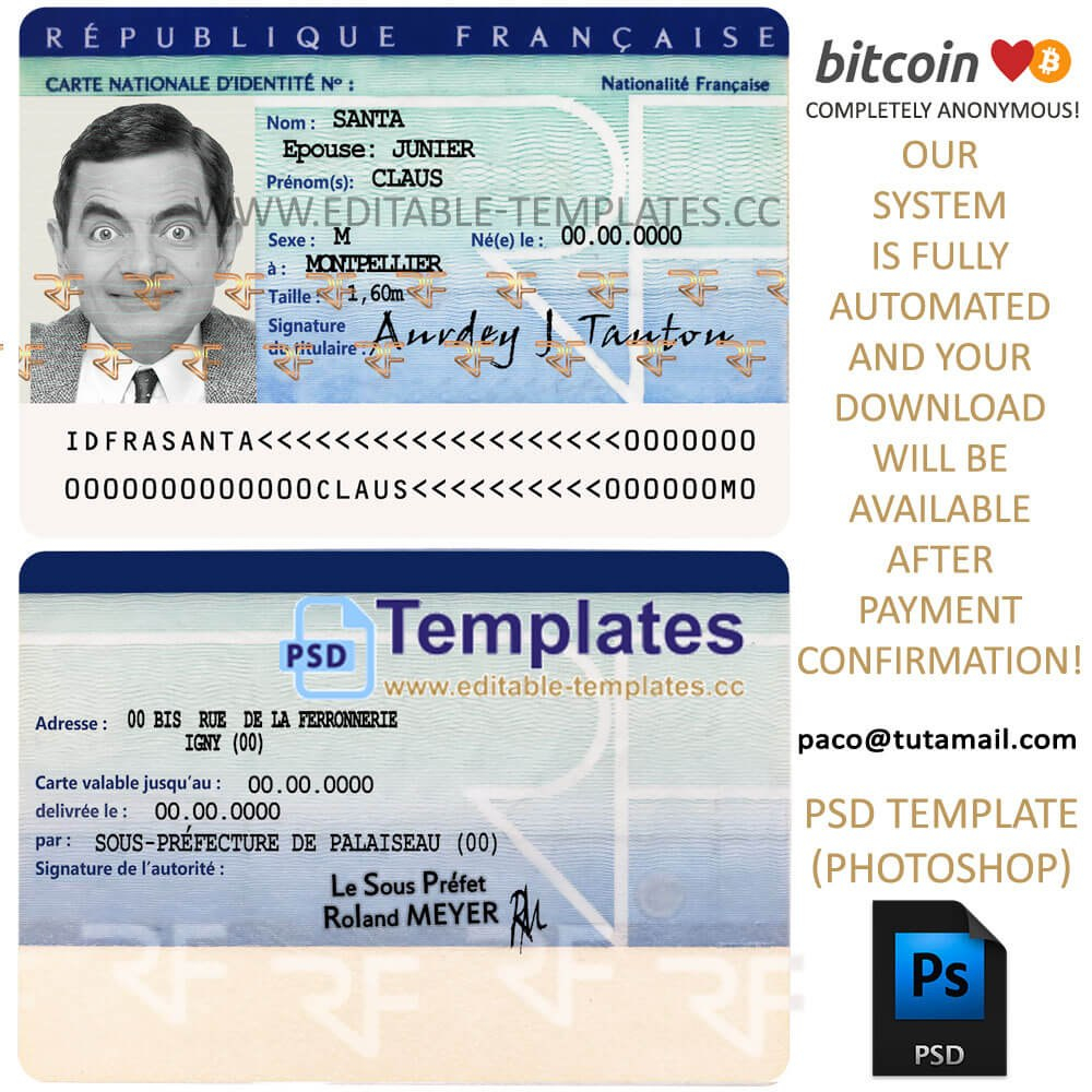 France Id Template Inside French Id Card Template