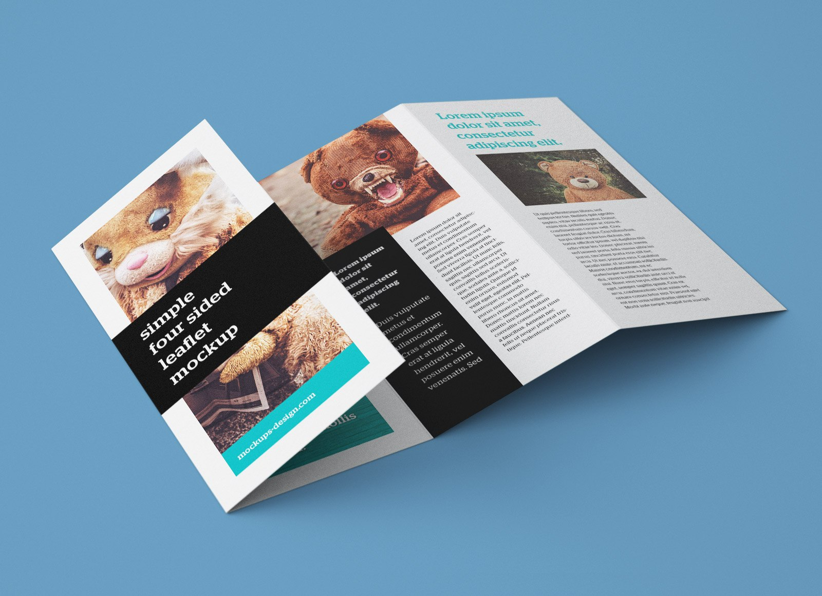 Free Accordion Fold Brochure  Leaflet Mockup Psd Templates  Good Within 2 Fold Brochure Template Psd