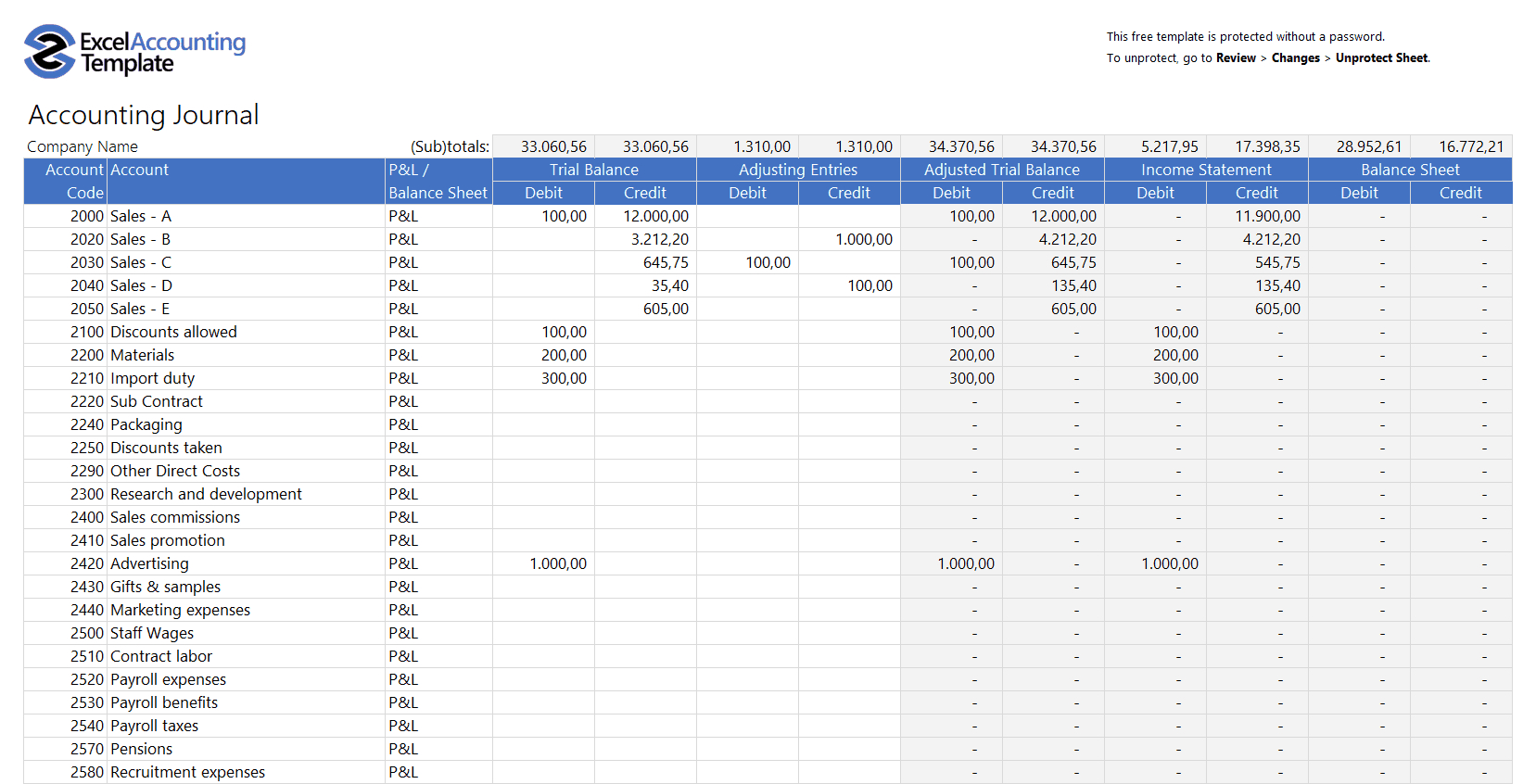 Free Accounting Templates In Excel  Download For Your Business In Template For Small Business Bookkeeping