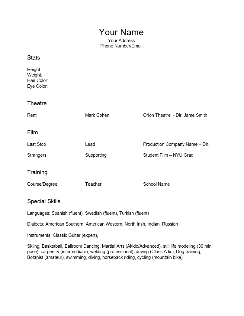 Free Acting Resume Template Examples Ms Word How To Format An Actors Pertaining To Theatrical Resume Template Word