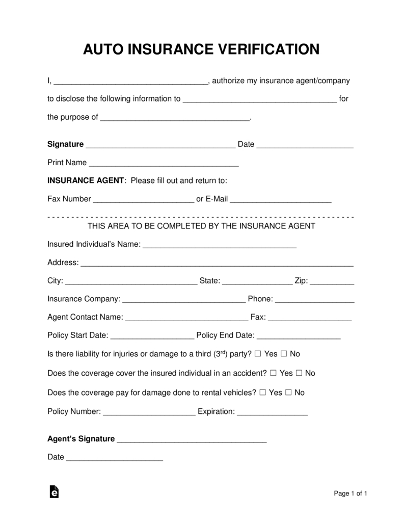 Free Auto Insurance Verification Letter  Pdf  Word  Eforms – Free Inside Proof Of Insurance Card Template