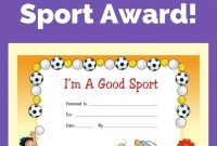 Free Award Certificate  I'm A Good Sport Primary  Behavior Charts with regard to Sports Day Certificate Templates Free
