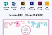 Free Baby Shower Menu In   Menu Templates  Designs   Baby with Baby Shower Menu Template Free