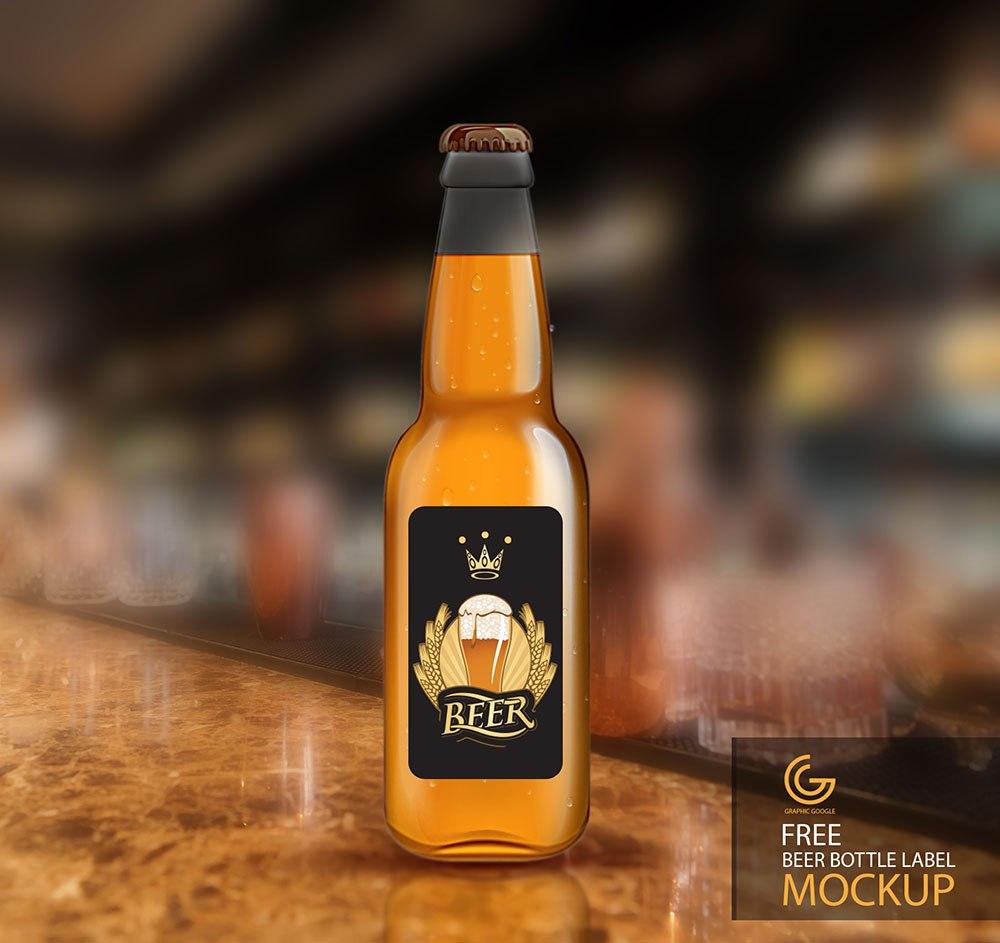 Free Beer Bottle Label Mockup  Mockuptree Inside Beer Label Template Psd