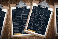 Free Beer Menu Template For Photoshop  Illustrator  Brandpacks in Adobe Illustrator Menu Template