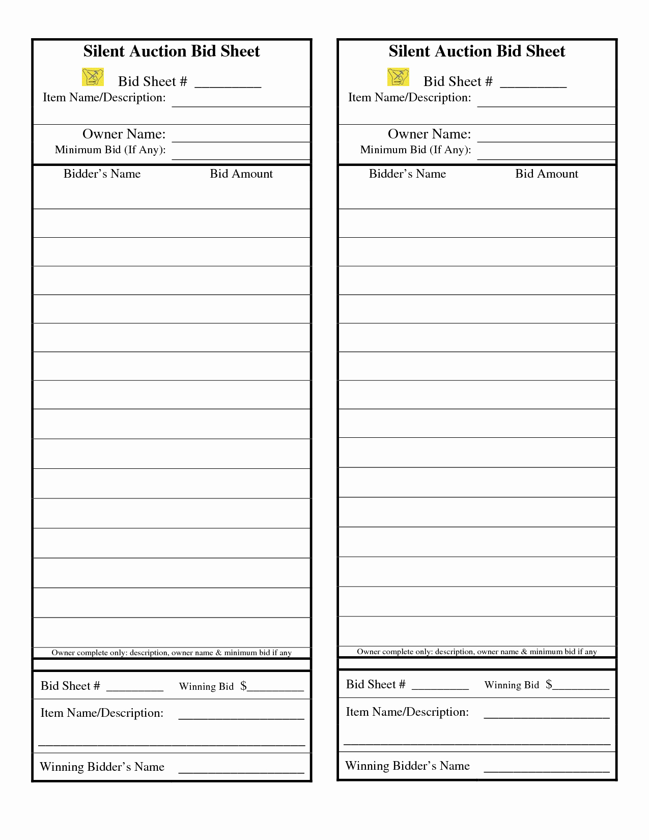 Free Bid Sheet Template Example Form Top Ideas Construction For Auction Bid Cards Template