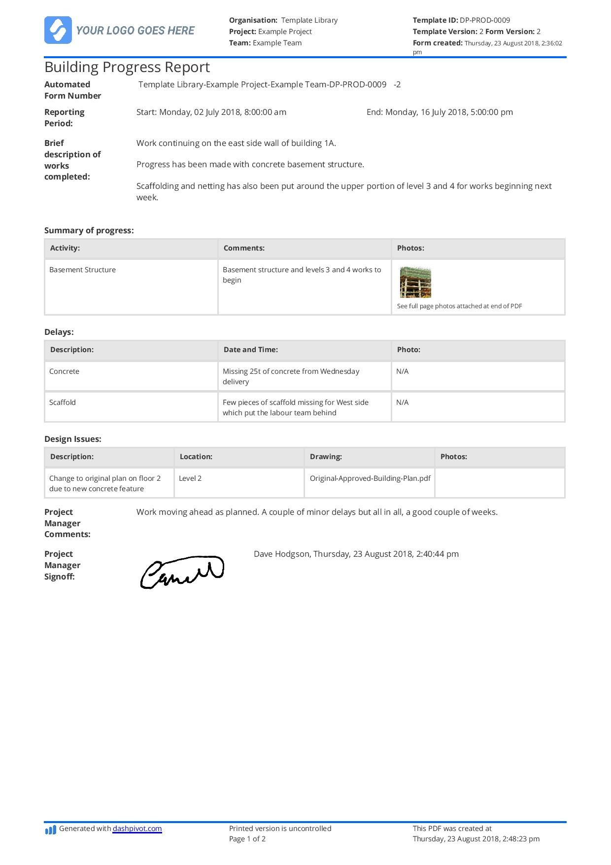 Free Building Construction Progress Report Sample Customisable Pertaining To Monthly Activity Report Template