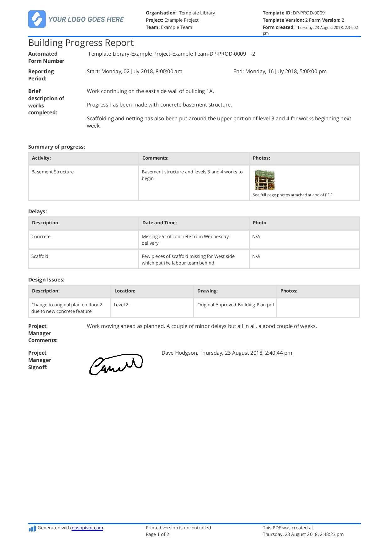 Free Building Construction Progress Report Sample Customisable Pertaining To Site Progress Report Template