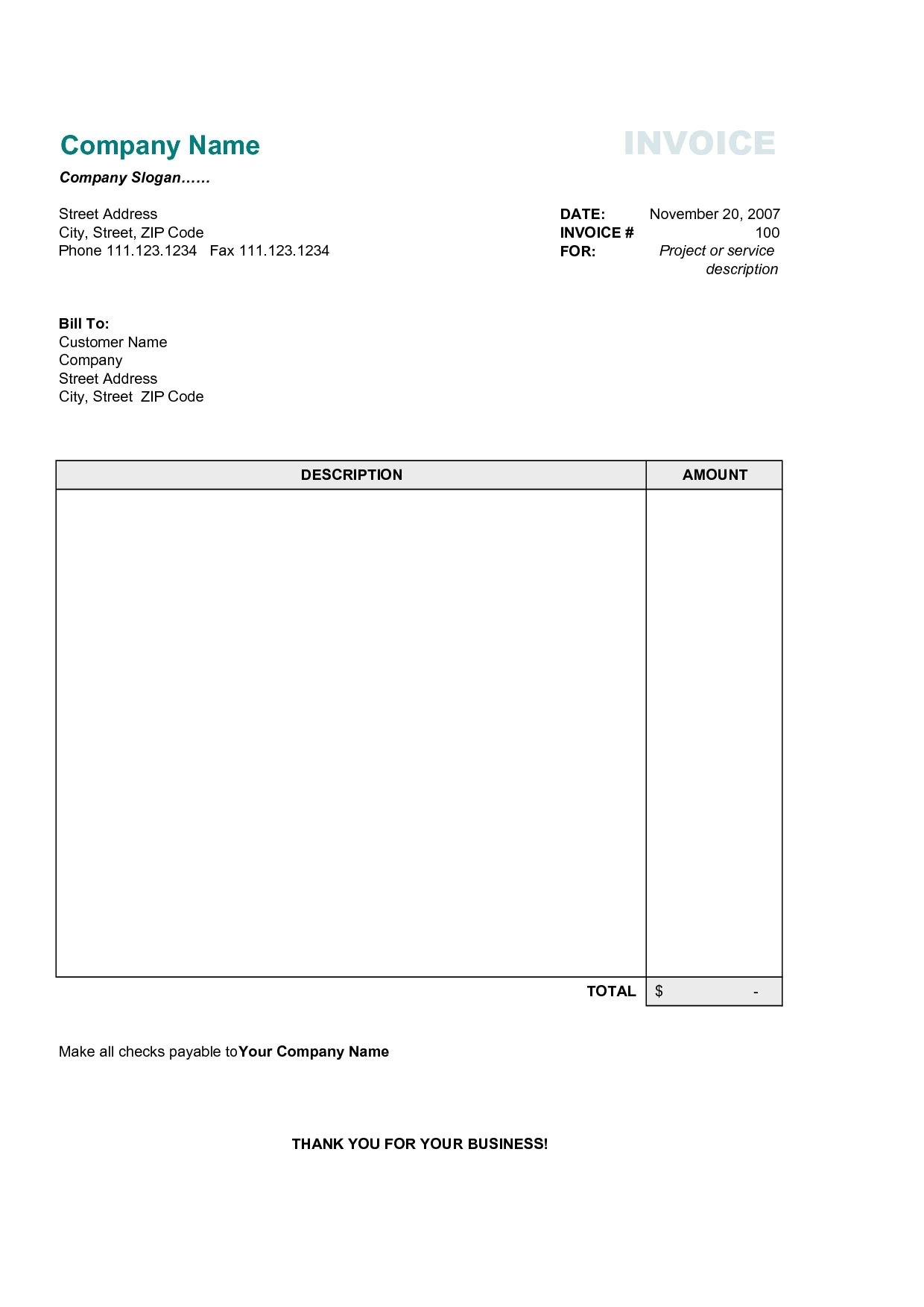 Free Business Invoice Template Best Business Template Free Invoice Throughout Invoice Template In Excel 2007