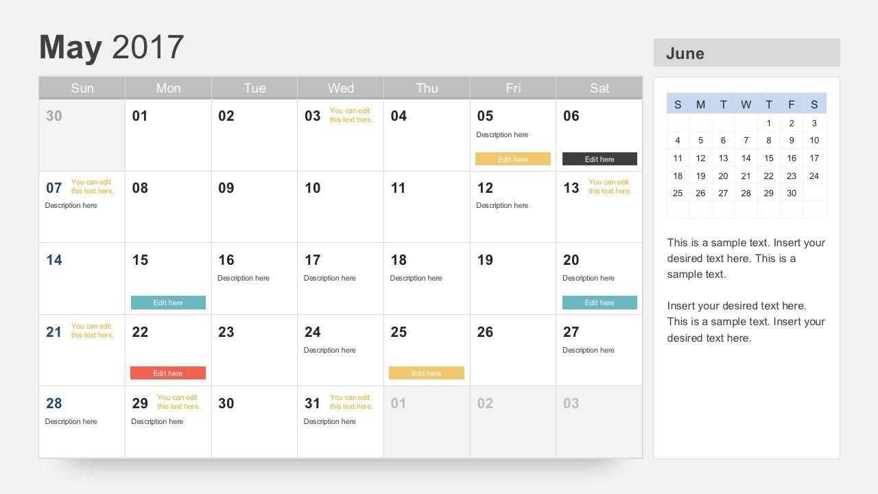 Free Calendar  Template In Microsoft Powerpoint Calendar Template