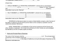 Free California Llc Operating Agreement Templates  Pdf  Word pertaining to Llc Annual Report Template