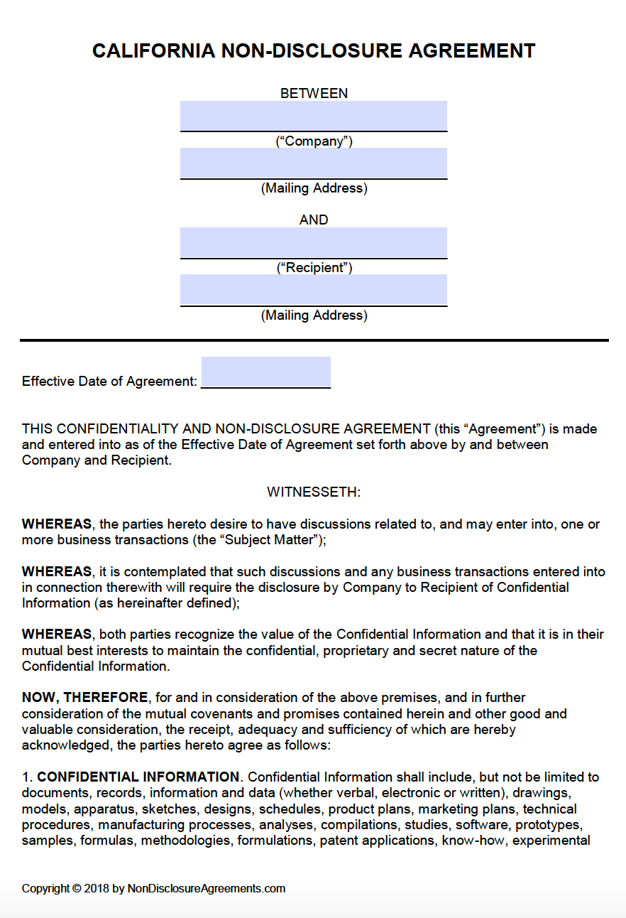 Free California Nondisclosure Agreement Nda Template  Pdf  Word Within Non Disclosure Agreement Template For Research