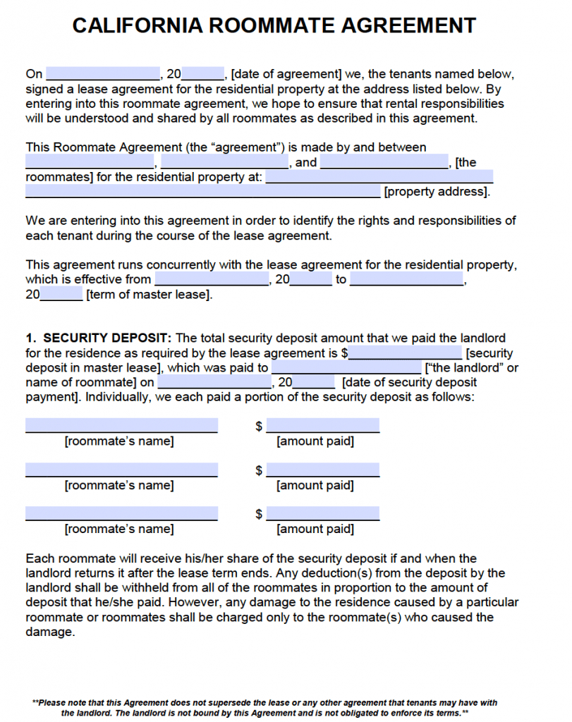 Free California Roommate Agreement Template – Pdf – Word Within Bedroom Rental Agreement Template