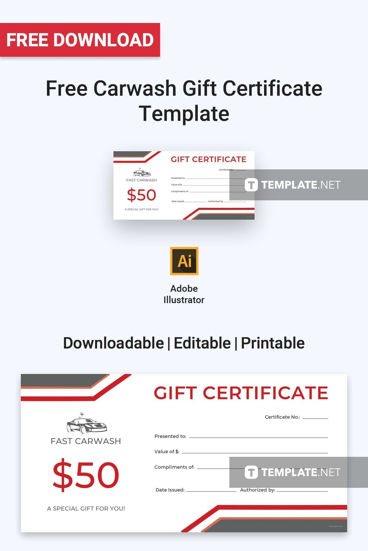 Free Carwash Gift Certificate  Certificate Templates  Designs Intended For Gift Card Template Illustrator