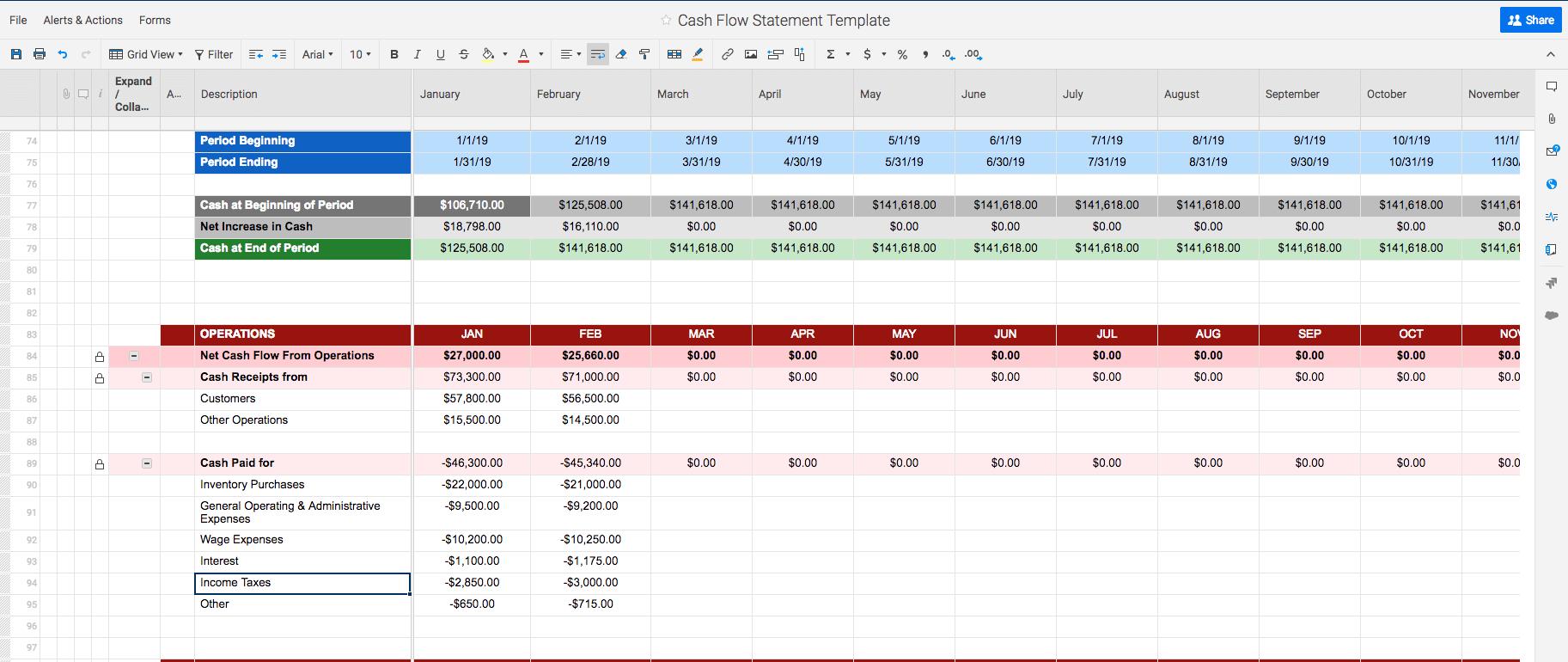 Free Cash Flow Statement Templates  Smartsheet With Cash Position Report Template