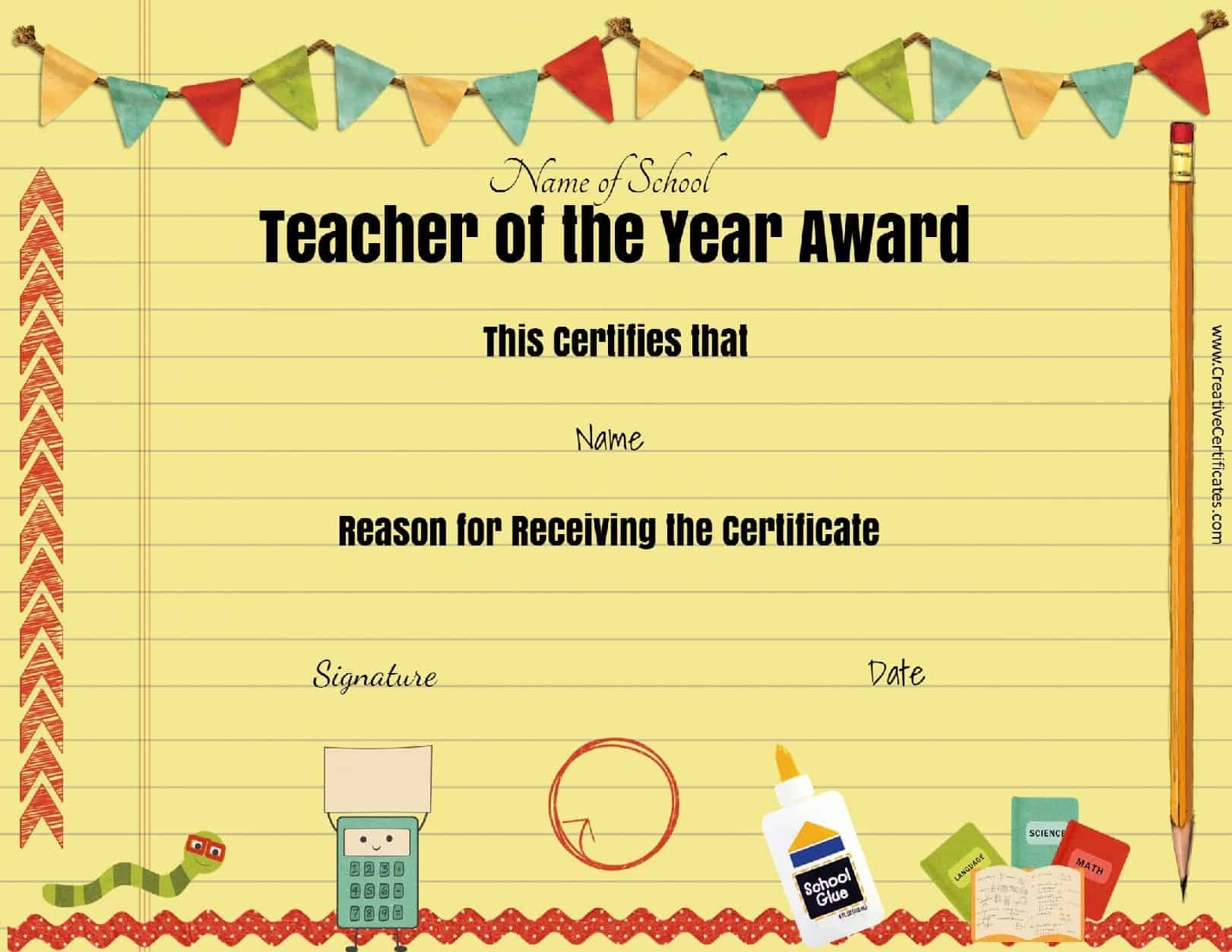 Free Certificate Of Appreciation For Teachers  Customize Online In Teacher Of The Month Certificate Template