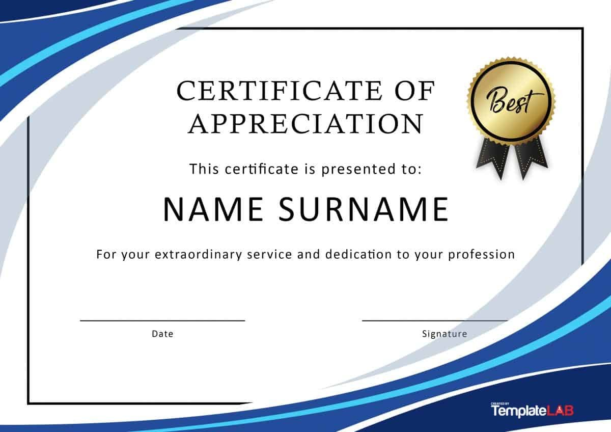 Free Certificate Of Appreciation Templates And Letters Regarding Recognition Of Service Certificate Template