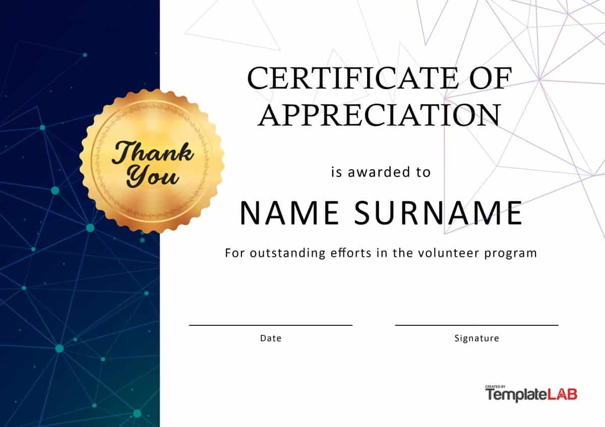 Free Certificate Of Appreciation Templates And Letters Regarding Volunteer Award Certificate Template