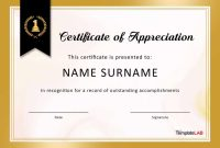 Free Certificate Of Appreciation Templates And Letters regarding Volunteer Of The Year Certificate Template